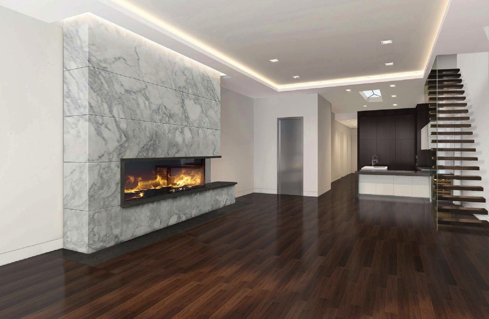 Custom linear gas fireplace with culcatta marble modern Fireplace setting ideas