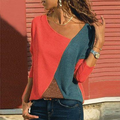 Photo of Asymmetric Neck  Patchwork  Contrast Stitching Long Sleeve T-Shirts – trendspole.com