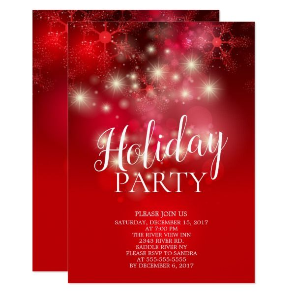 elegant red snowflakes holiday party invitation