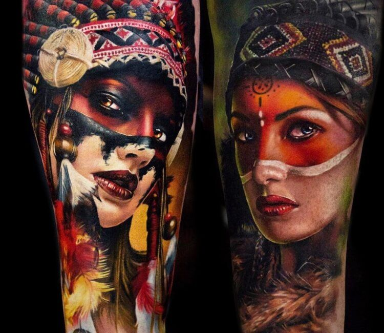 Native American Girls Tattoo By Andrey Stepanov Post 28272 Indian Girl Tattoos Native American Girl Tattoo Tattoos