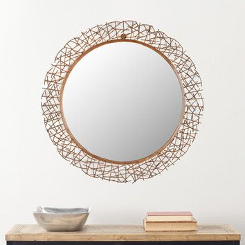 "Safavieh 28.3"" H x 28.3"" W Twig Mirror"