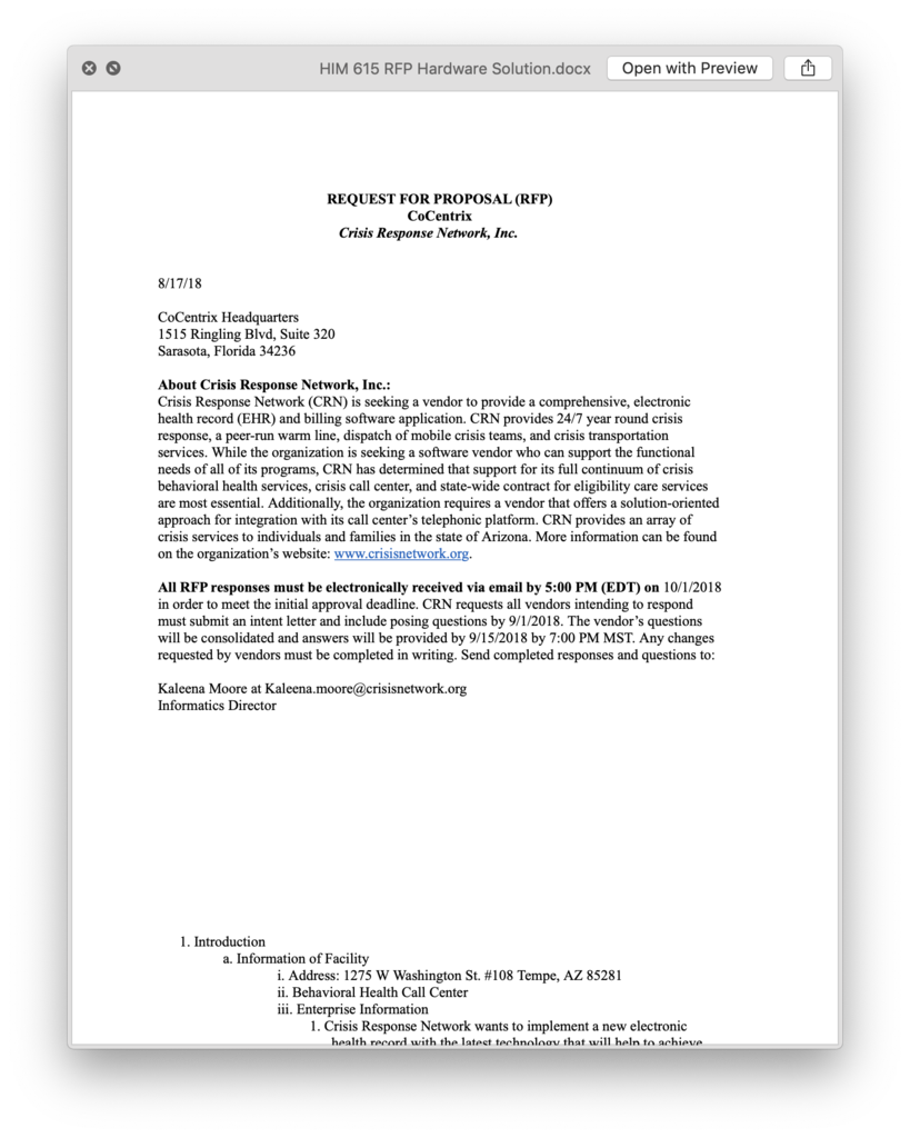 HIM 615 HIM615 RFP Hardware Solution - GCU | Homework Assignments