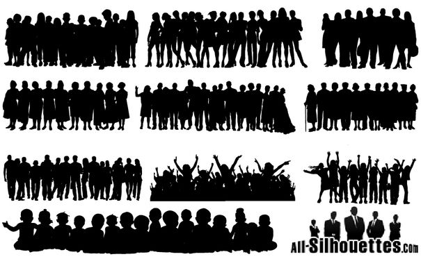 People Crowds Silhouette Vectors Eps Svg Ai Files Vector Eps Free Download Logo Icons Brand Emblems Silhouette People People Crowd Silhouette Vector