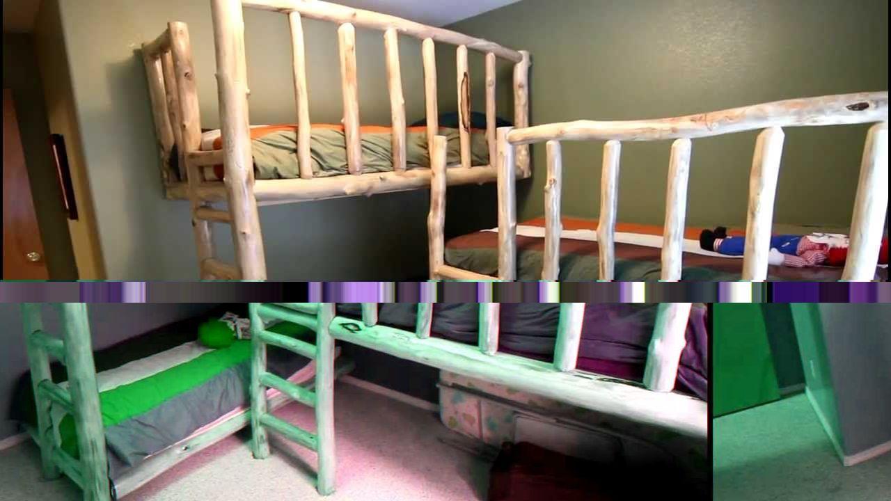 Triple Bunk Beds From Aspen Logs Youtube Mountain House Ideas