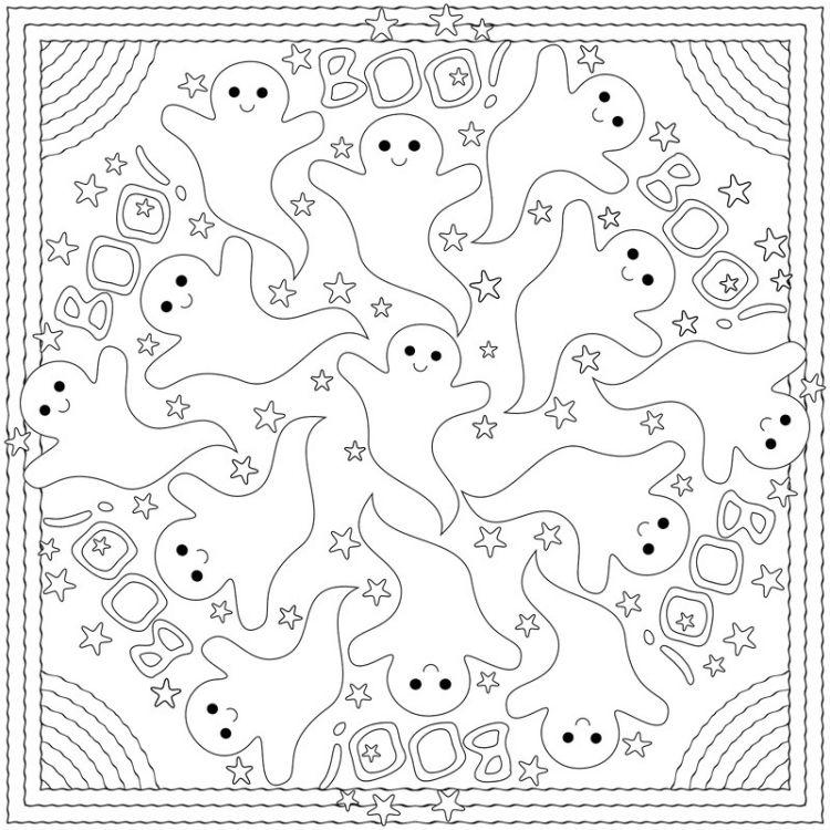 Mandalas Herbst Ausdrucken Ausmalen Kinder Malvorlage Halloween Geister Boo Halloween Mandala Mandala Ausmalen Malvorlagen