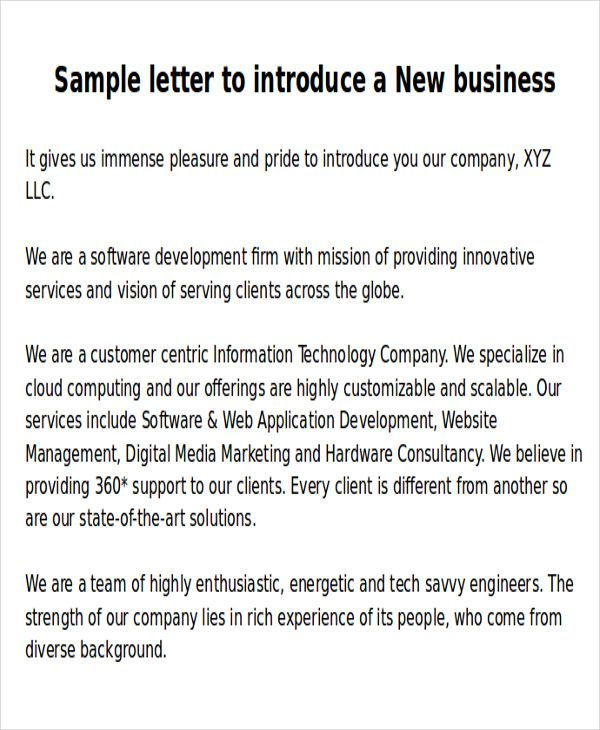 sle new business letters 6 exles in word pdf Format Pinterest