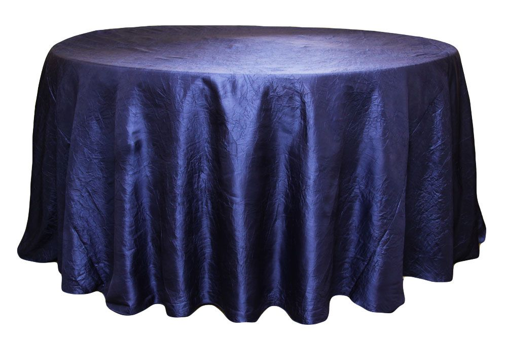 Crushed Taffeta 120 Round Tablecloth Navy Blue 120 Round