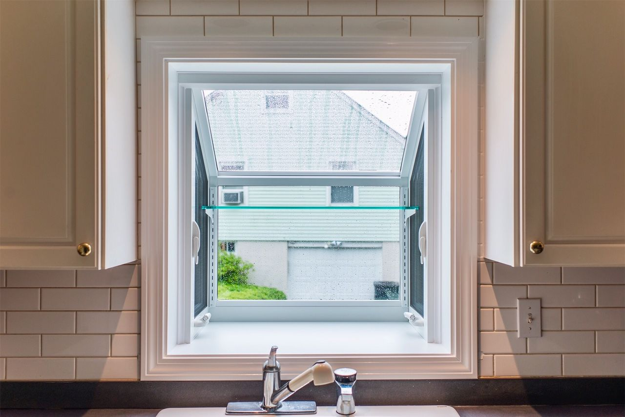 White Garden Window With Glass Shelf | Kitchen Window Ideas ...