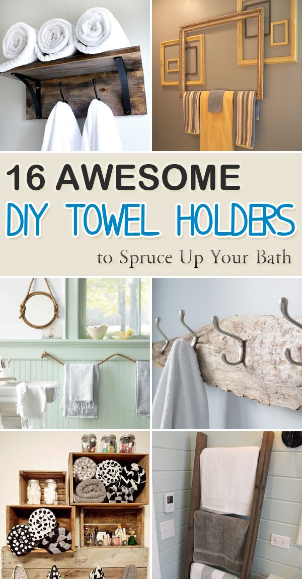16 Awesome Diy Towel Holders To Spruce Up Your Bath Bathroom Hand Towel Holder Towel Holder Diy Towel Holder Bathroom