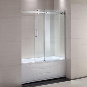 Schon Judy 60 In X 59 In Semi Framed Sliding Trackless Tub And Shower Door In Chrome With Clear Glass Sc700 Shower Doors Tub With Glass Door Tub Shower Doors