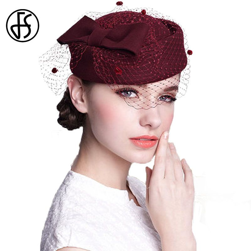 30787f89785 FS Women Black 100% Australian Wool Pillbox Hats With Veil For Ladies Fascinator  Bow Wedding Hat French Artist Stewardess Caps