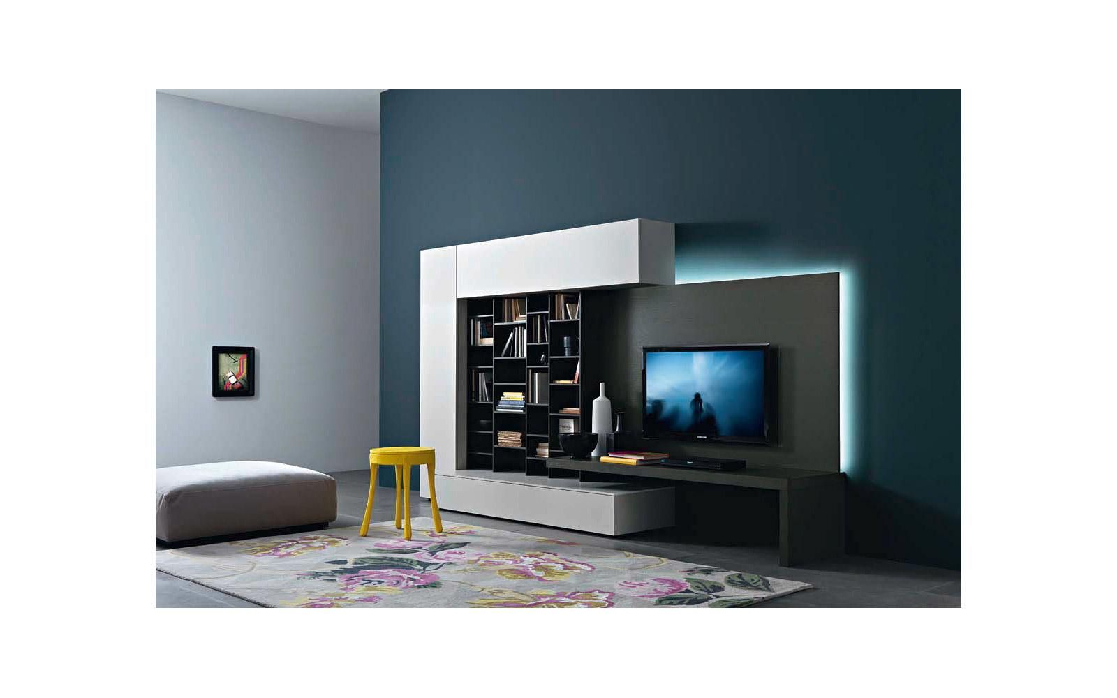 designer tv wand mit led hintergrundbeleuchtung tv wand. Black Bedroom Furniture Sets. Home Design Ideas