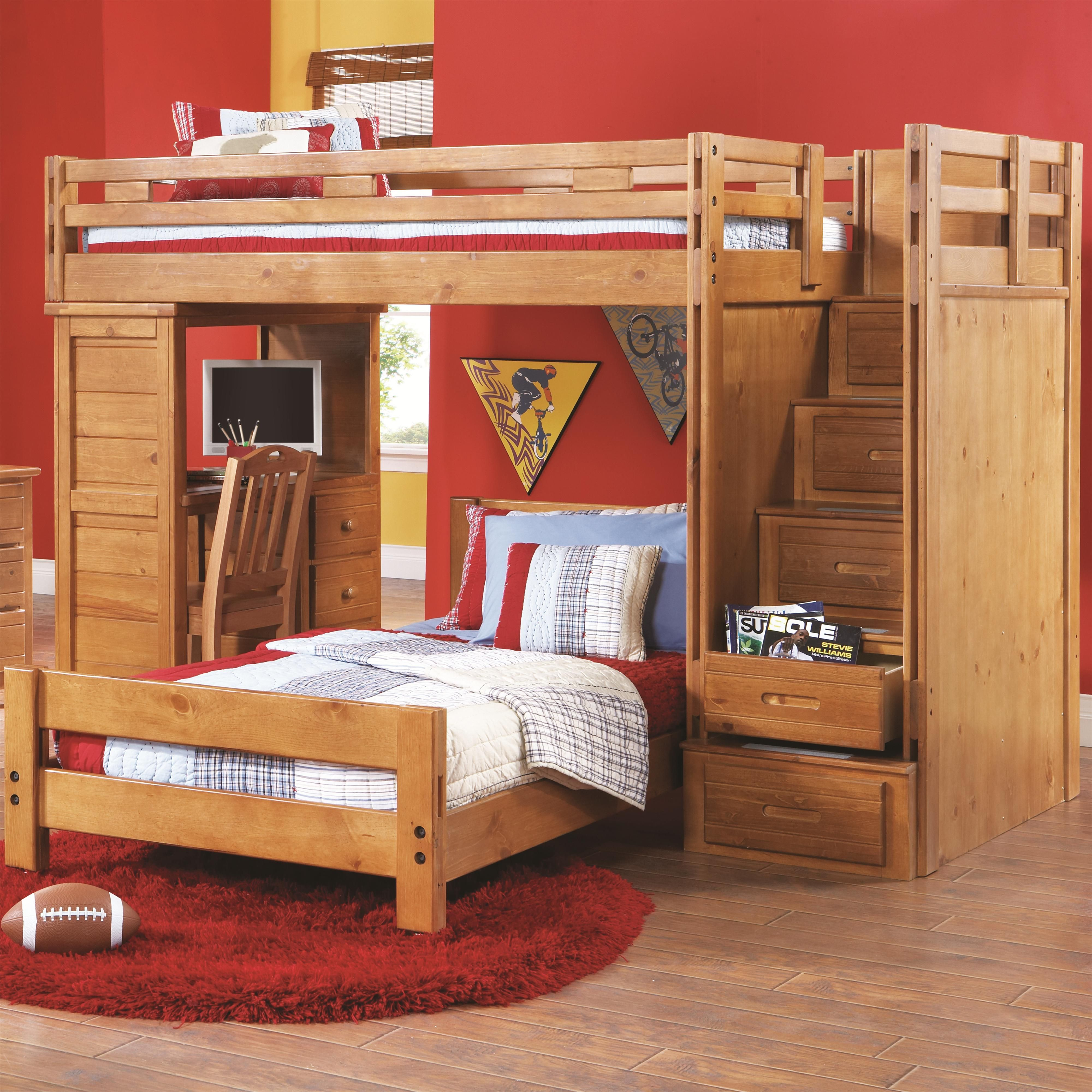 Creekside Twin/Twin Loft Bed by Canyon Bed, Stair
