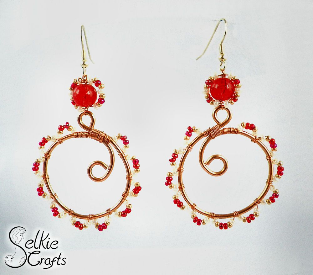 Eastern vibe boho earrings, red, copper & pearl, wire wrapped ...