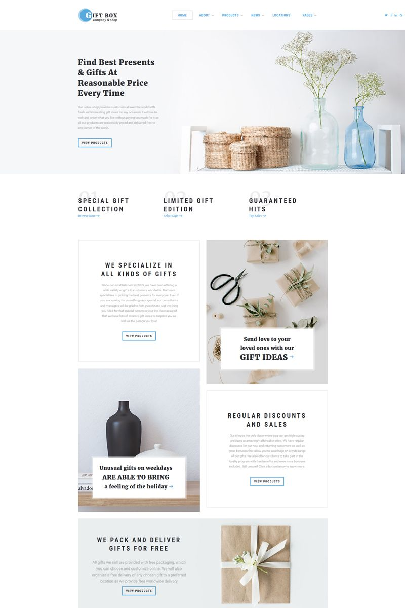 Gift Box Gift Shop Multipage Html5 Website Template Shop Box Gift Multipage Website Online Gift Store Gift Websites Gifts