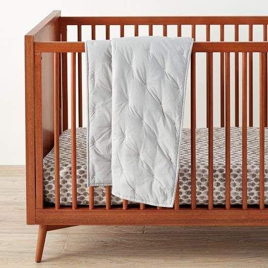 west elm Washed Cotton Toddler Quilt - Platinum - chambres a coucher conforama