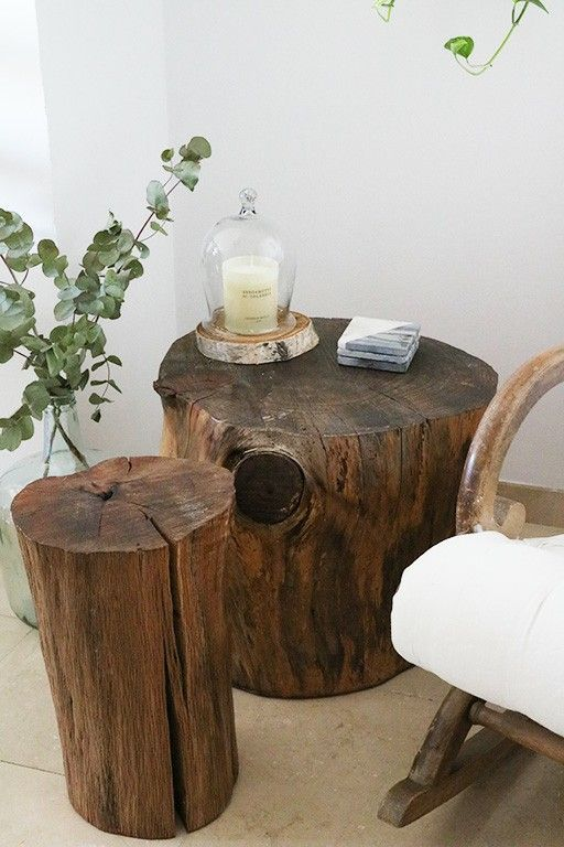 Reclaimed Wood Tree Trunk Stump Side Coffee Tables Table Diy