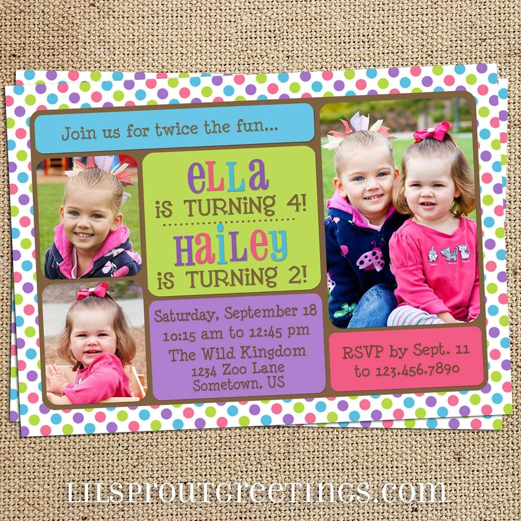 Girls Joint Twin Photo Birthday Invitation (You Print). $18.00, via ...