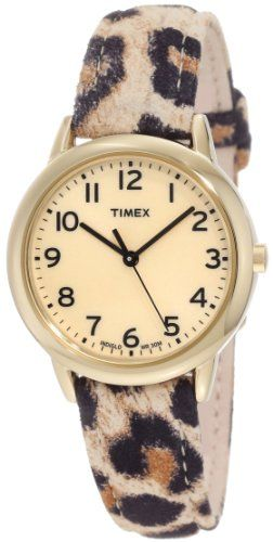 Timex Women's T2N966 Elevated Classics Leopard Patterned Strap Watch