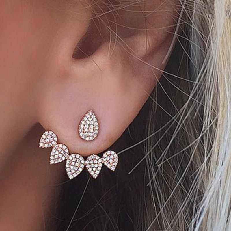 Wholesale Fashion Crown Gold Color Earrings Crystal Jewelry Double Stud Earing