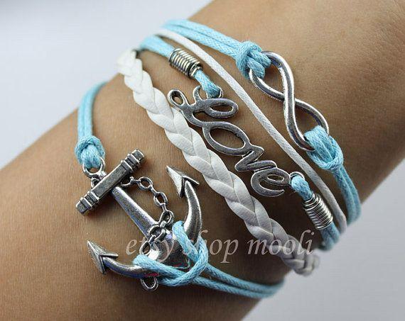 silvery infinity bracelet love bracelet anchor bracelet men rope bracelet women leather bracelet bangle jewelry B792