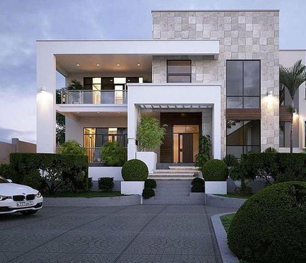 20 Fascinating Contemporary Houses Design Ideas To Try In 2020 Flat Roof House Designs Flat Roof House House Front Design