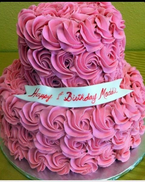 Image Two Tiered Pink Birthday Cake