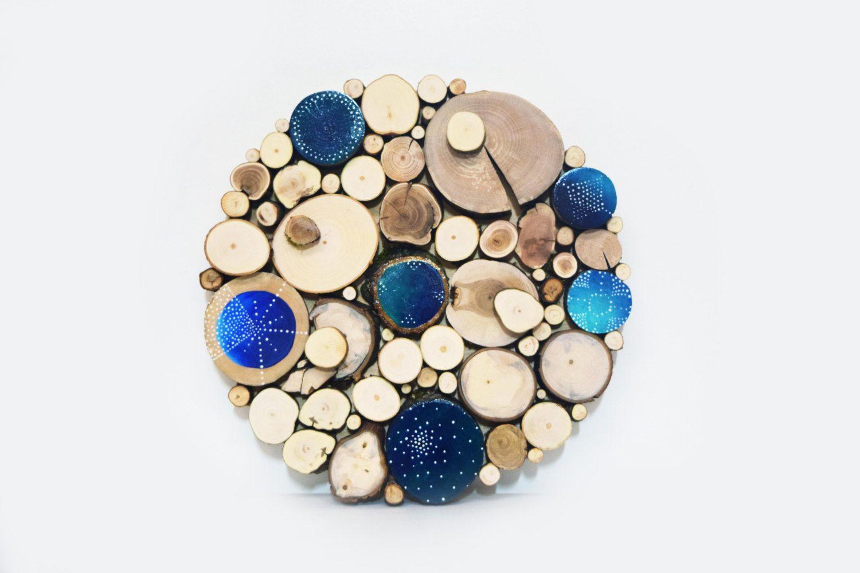 Blue moon reclaimed wood wall sculpture celestial dreams hand