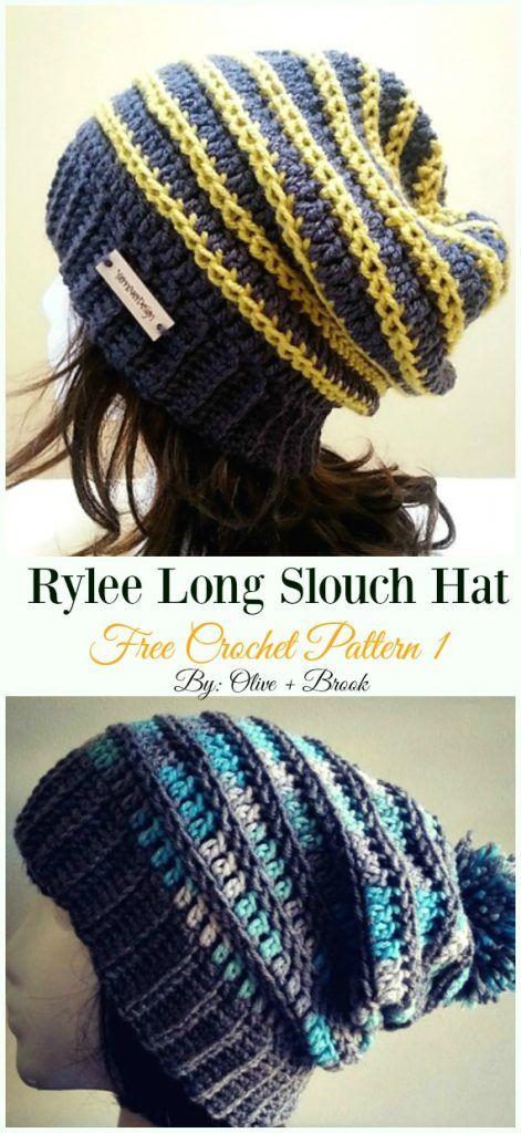 869940d0c06 Rylee Long Slouch Hat Crochet Free Pattern - Women  Slouchy  Beanie Hat  Free  Crochet  Patterns