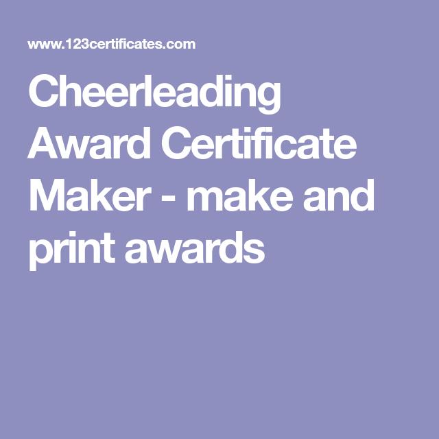 Cheerleading Award Certificate Maker Make And Print Awards Cheer