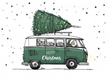 kerstkaart vw busje groen | kerst kaarten, kerst foto's