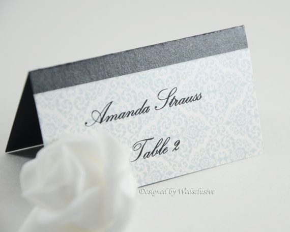 Silver damask place cards wedding place cards wedding name cards wedding escort cards set of 10 printing of names included on etsy 15 00
