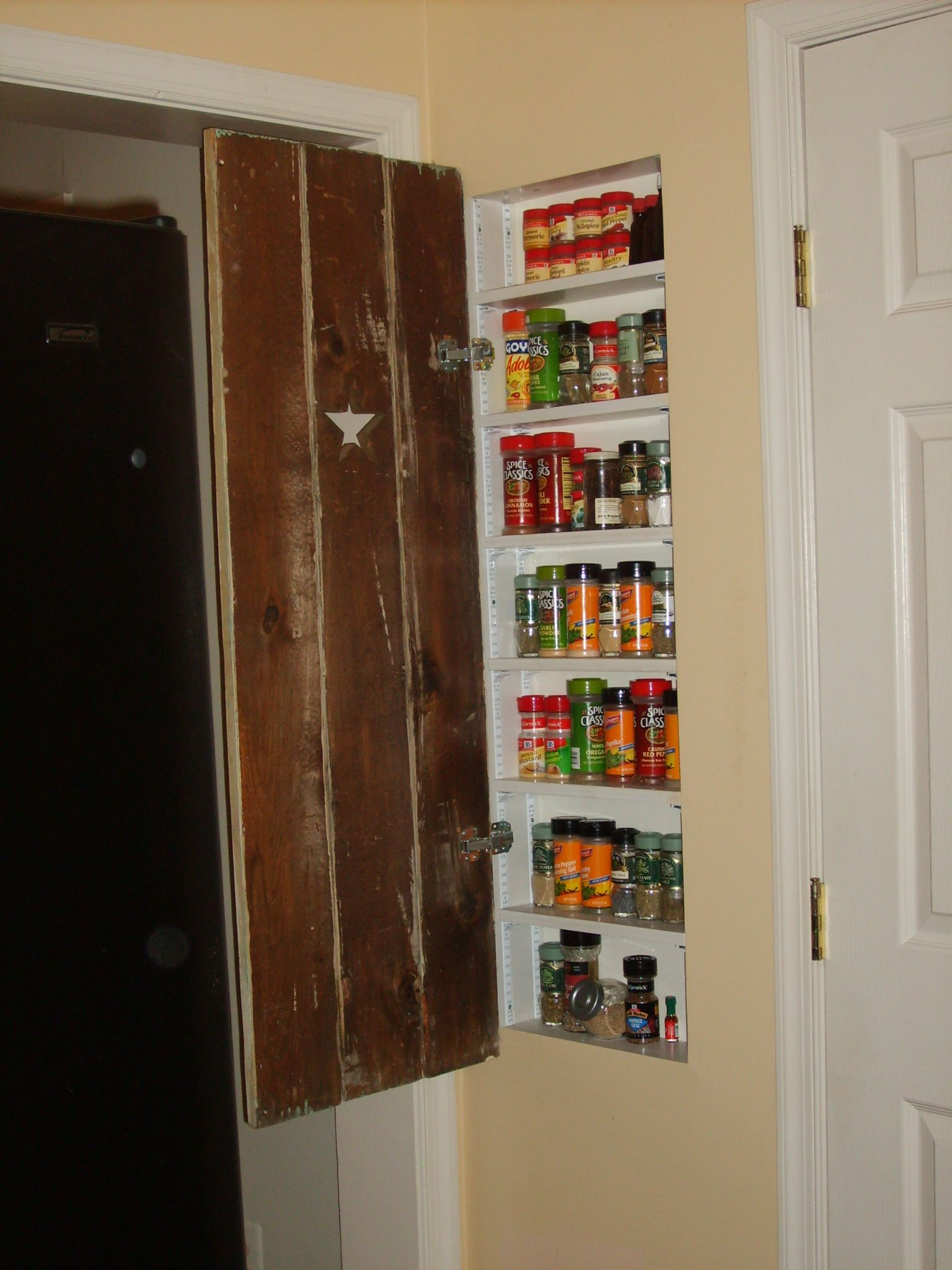 Good Use Of Space Between Studs In Wall Spice Rack For The Kitchen Kitchen Wall Shelves Pantry Cabinet Kitchen Pantry Cabinets