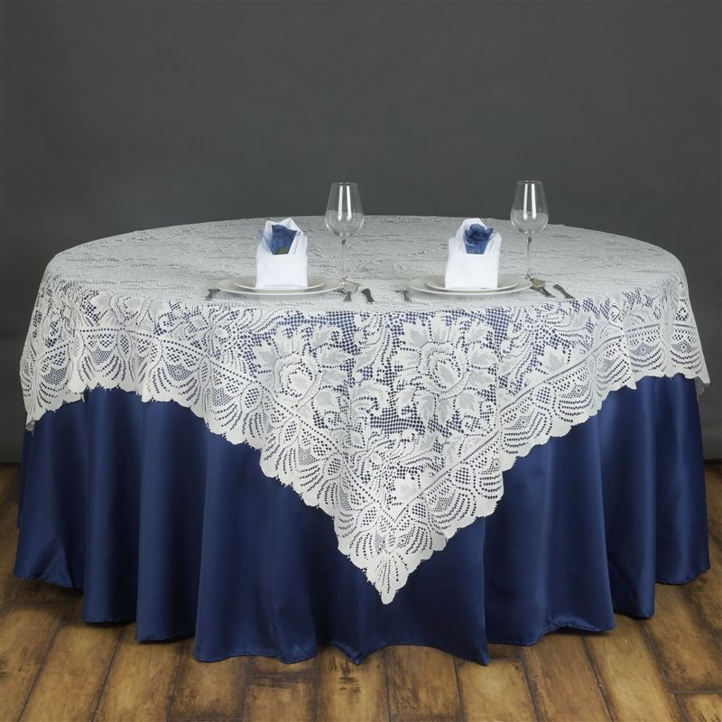 72x72 Ivory Lace Table Overlay With Large Flowers Wedding Party Catering  Linens | EBay