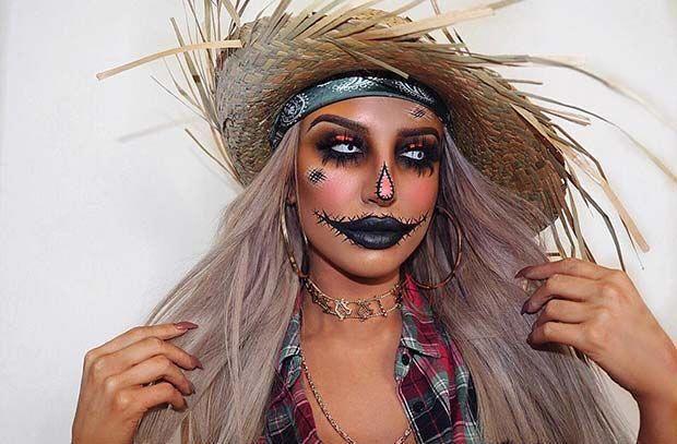 Halloween Scarecrow Costume Idea #halloweenmakeup #scarecrowcostumediy