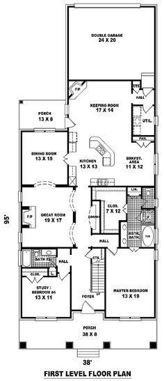First Floor Plan Of Craftsman Narrow Lot House Plan 46858