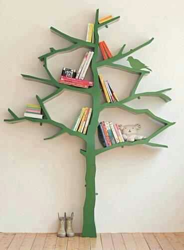 Tree bookshelf - incorporate with tree cutouts to make a 3D grove