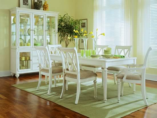 Camden Light 7 Piece Dining Room Furniture Set Leg Table in White