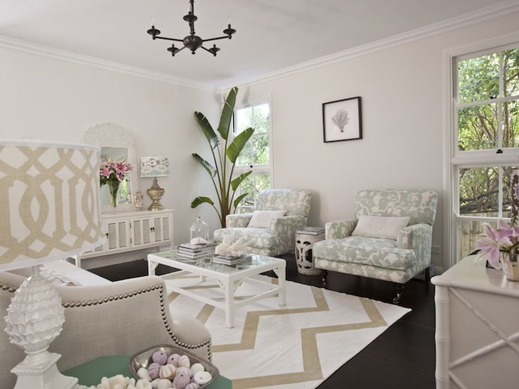Seafoam Green And Beige Living Room Design With Light Tan Walls Paint  Color, White U0026 Beige Zigzag Chevron Rug, Glossy White Hollywood Regency  Pineapple Lamp ...