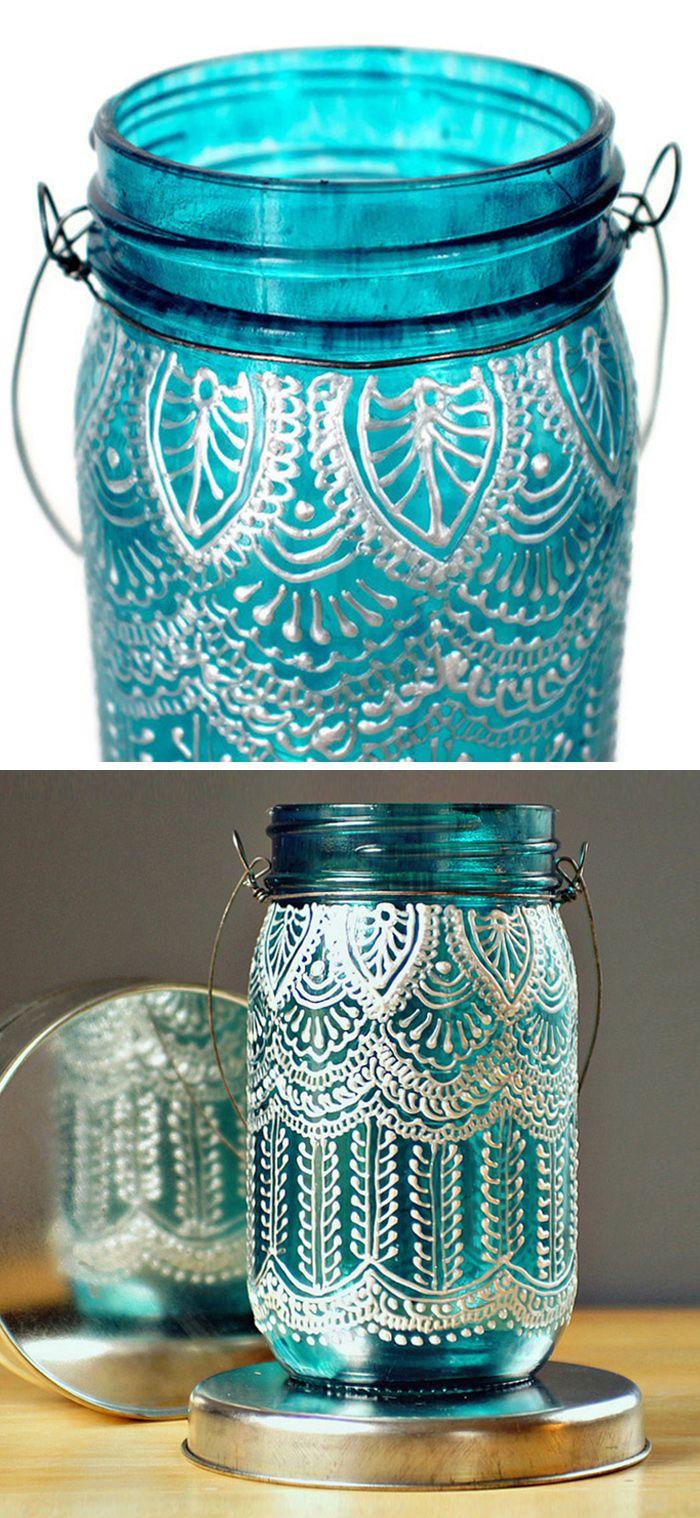 Lace Henna Mason Jar Lantern Diy Idea Product Design Glass