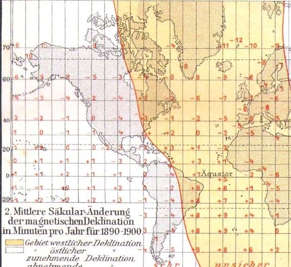World Map Magnetic Declination Planet Earth Edwardian Antique - Us declination map