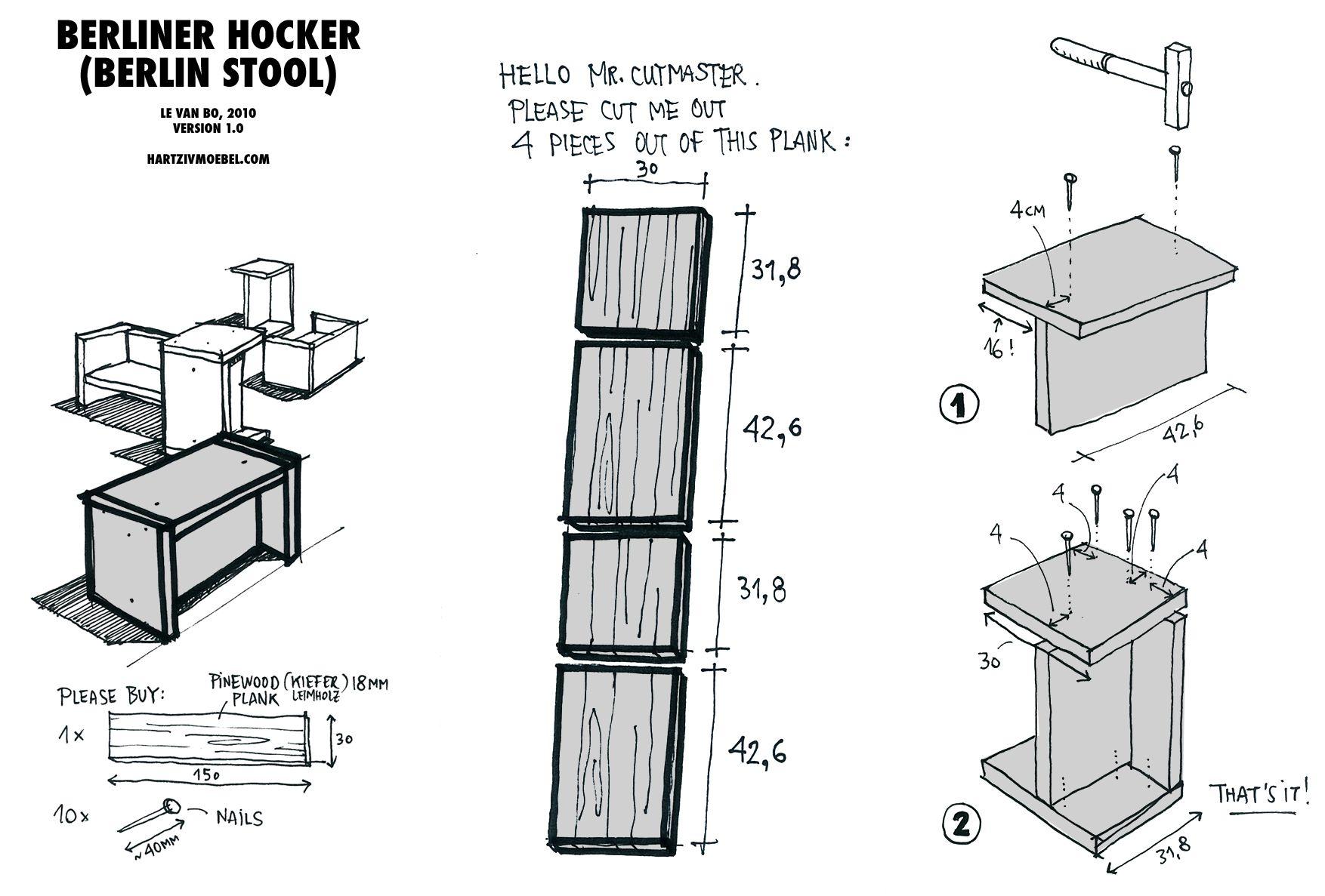 Berliner Hocker berliner hocker easy diy berlin stool stackable craft