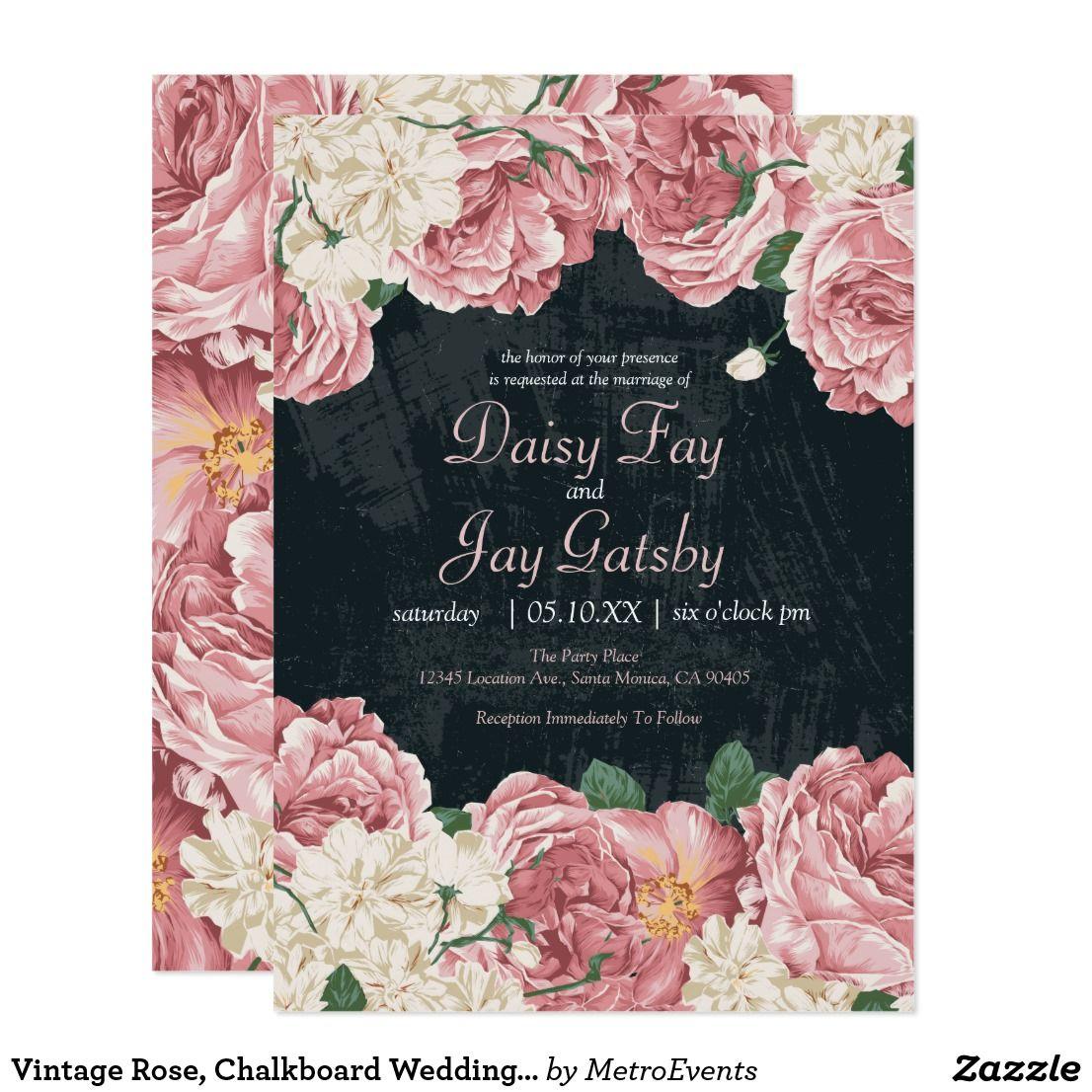 Vintage Rose Chalkboard Wedding Invitations Chalkboard Wedding