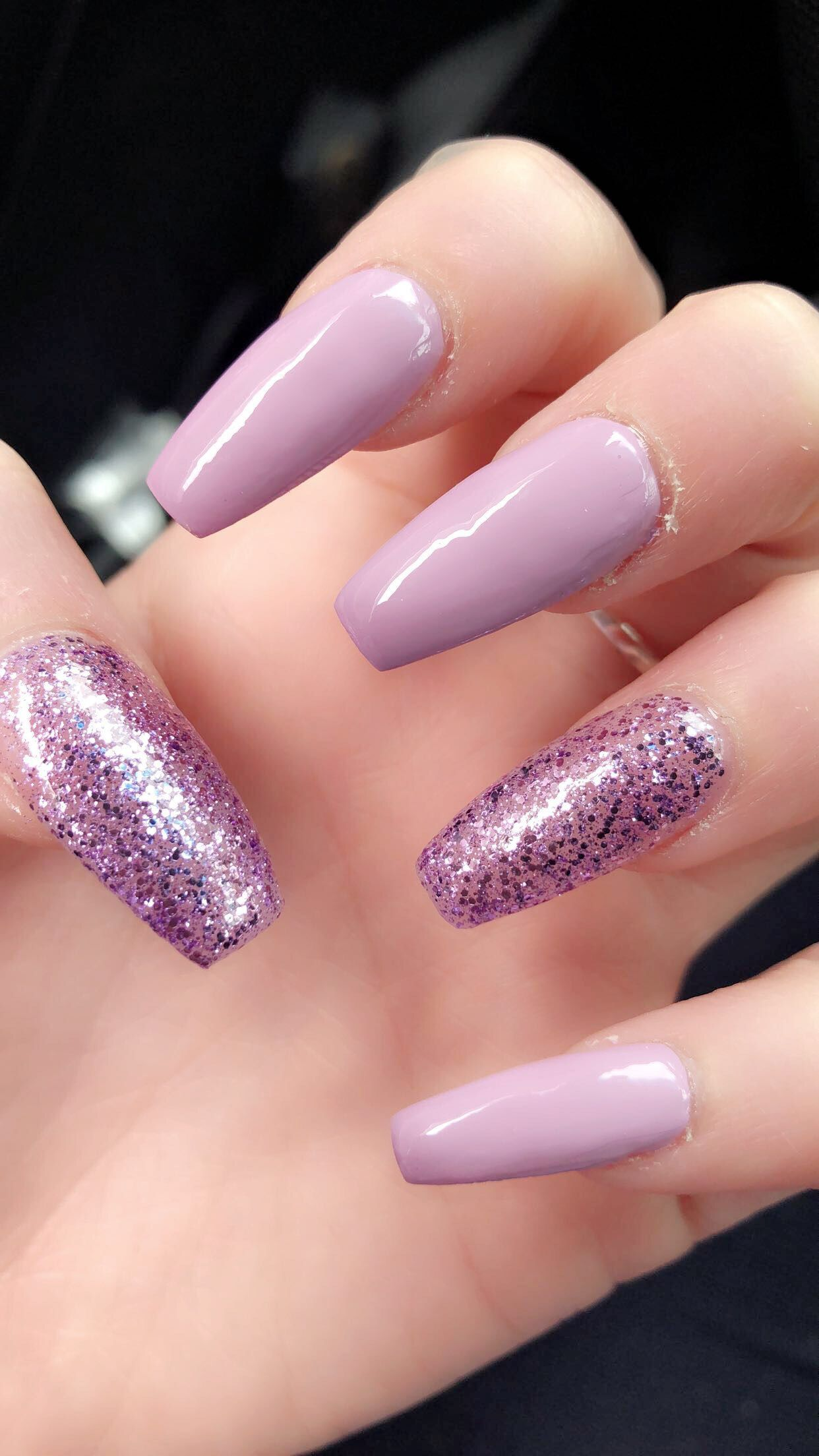 Pink and purple sparkles or glitter nails. Sparkly and glittery ...