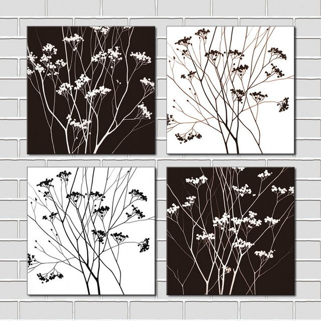 4 piece black white tree modern wall art hd pictures canvas art print wall pictures for
