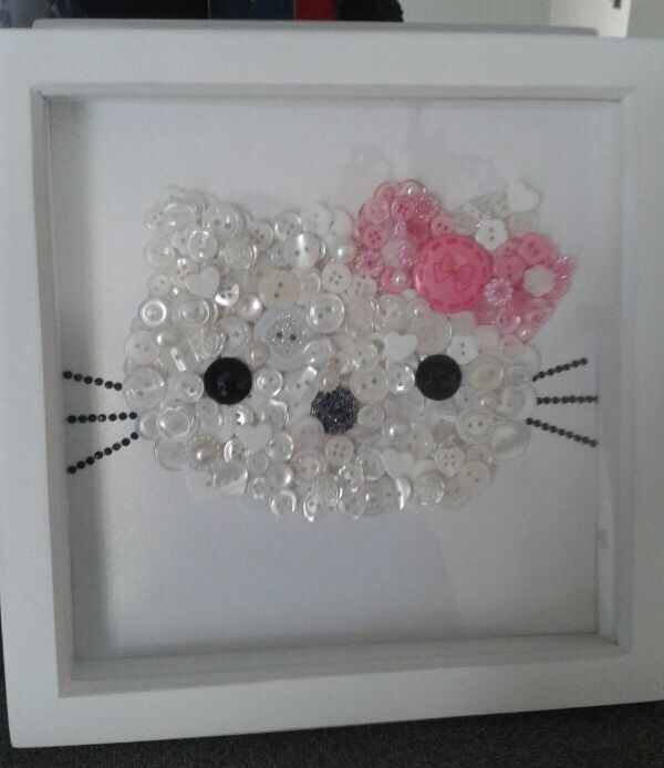 Hello Kitty - Handmade Framed Button art | BUTTON ART | Pinterest ...