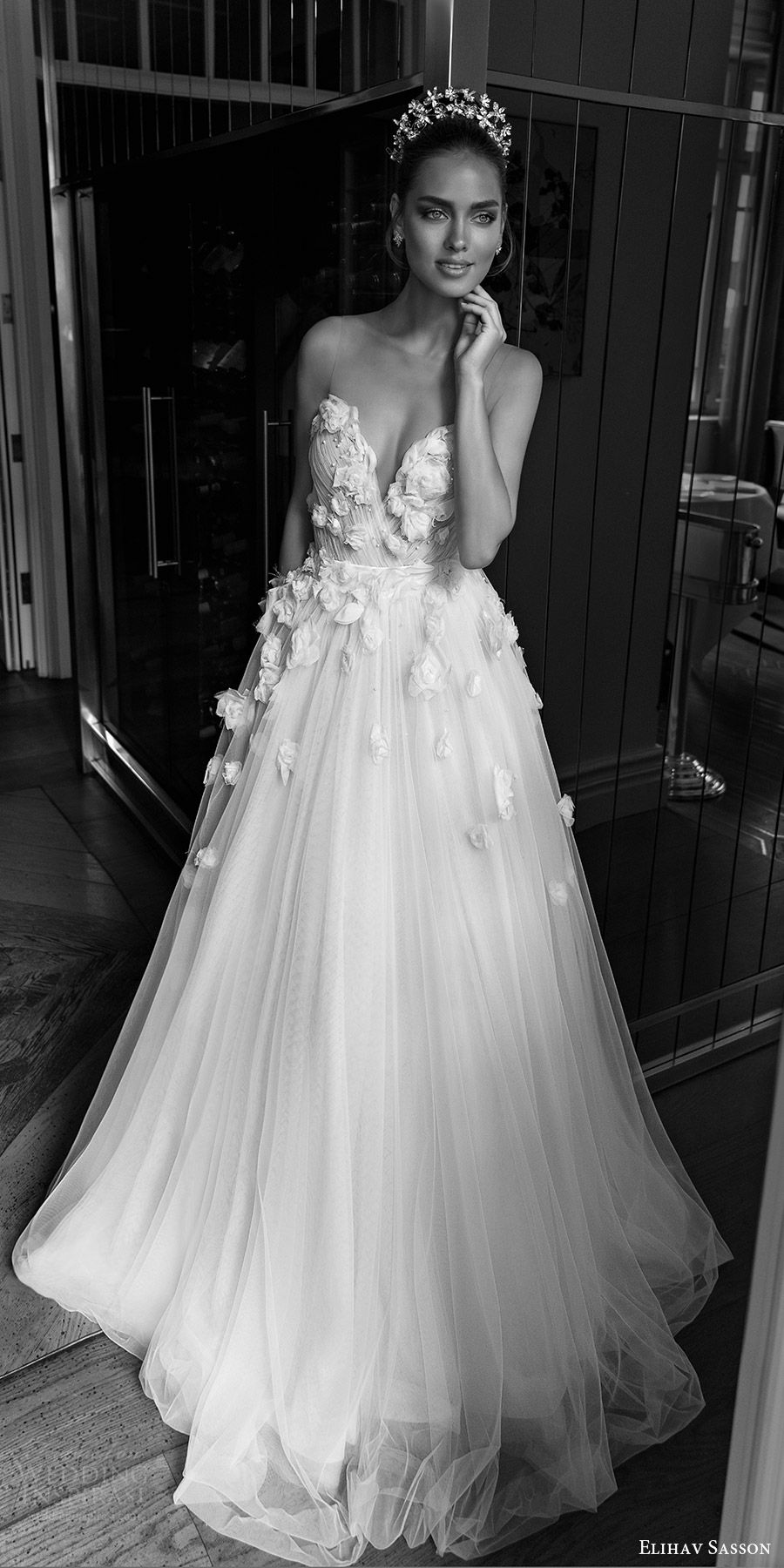 8b42604861c elihav sasson spring 2018 bridal sleeveless illusion jewel sweetheart  embellished ruched bodice tulle ball gown wedding dress (vj 007) fv sweep  train ...