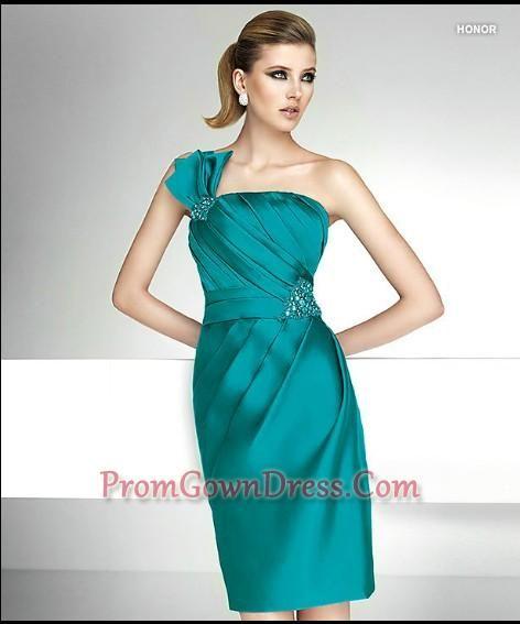 2012 Fashionable Short One Shoulder neck Mini-Length Cocktail Dresses W113088