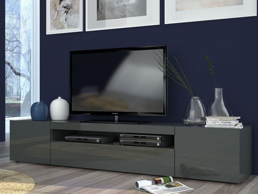 Daiquiri Modern Large TV Cabinet In Anthracite Gloss Finish With Lights