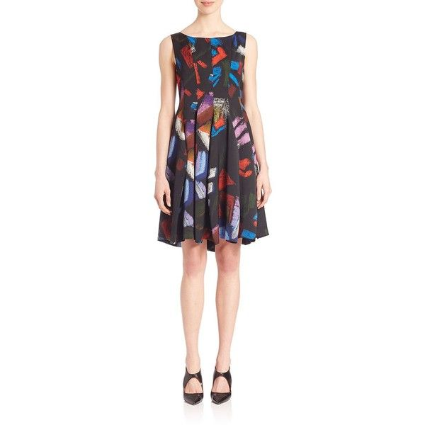 Armani Collezioni Printed Fit & Flare Dress ($311) ❤ liked on Polyvore featuring dresses, apparel & accessories, multi, boat neck fit and flare dress, sleeveless fit and flare dress, print skater skirt, circle skirts and flared pleated skirt